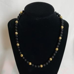 Napier Vintage Black and Gold Beaded Necklace